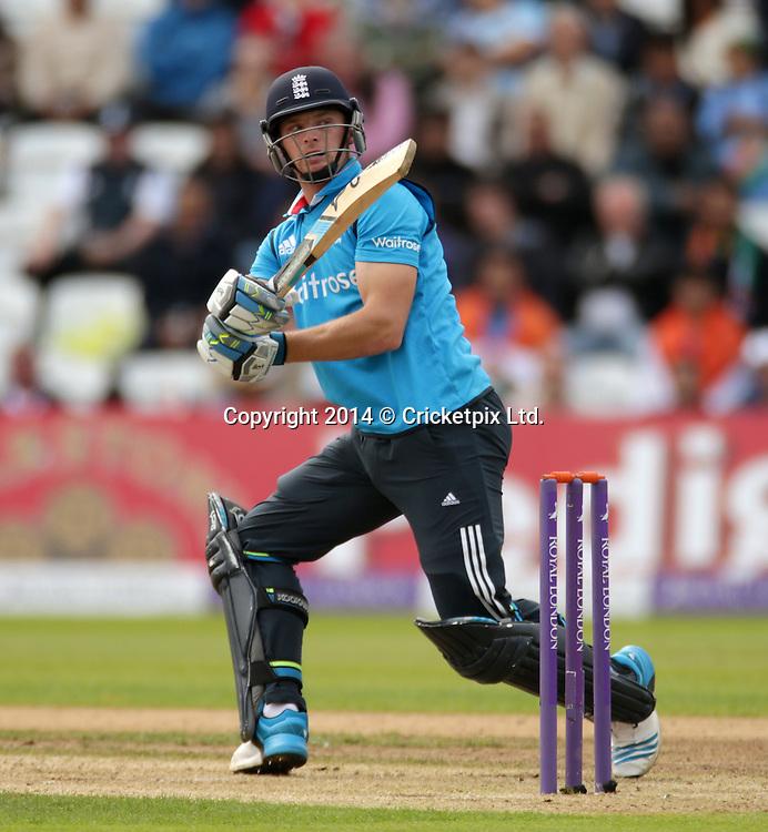 Jos Buttler bats during the third Royal London One Day International between England and India at Trent Bridge, Nottingham. Photo: Graham Morris/www.cricketpix.com (Tel: +44 (0)20 8969 4192; Email: graham@cricketpix.com) 300814