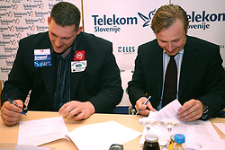 Miran Vodovnik and President of AZS dr. Peter Kukovica  when Athletic Federation of Slovenia (AZS) and top Slovenian athletes sign a contract of sponsorship, on February 14, 2008 in M-Hotel, Ljubljana, Slovenia. (Photo by Vid Ponikvar / Sportal Images)