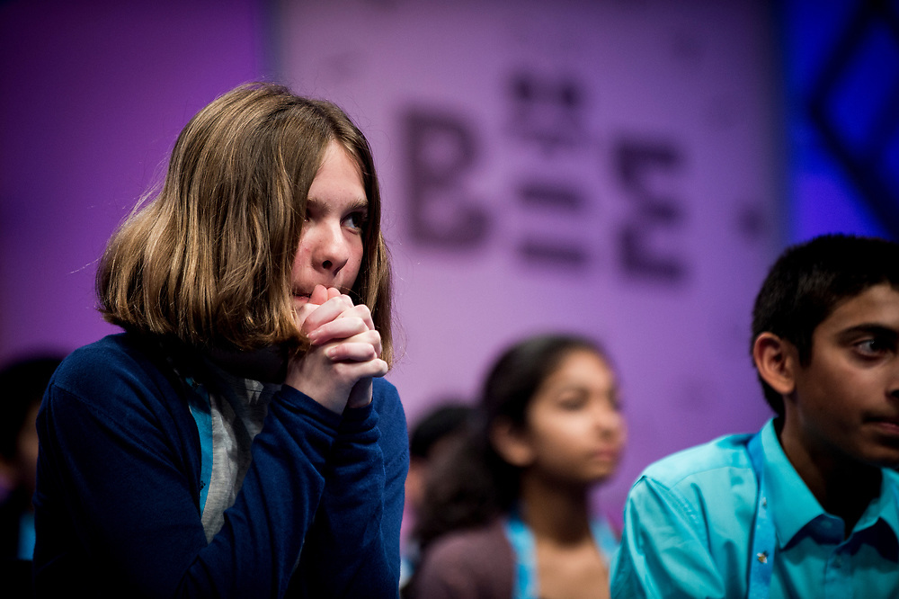Erin Howard, 12, from Huntsville, Ala.,  listens intently as a fellow speller spells a word in the finals of the 2017 Scripps National Spelling Bee on Thursday, June 1, 2017 at the Gaylord National Resort and Convention Center at National Harbor in Oxon Hill, Md.      Photo by Pete Marovich/UPI