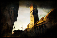 Tempio di Minerva in the Piazza del Comune of Assisi Perugia, Italia.  Built in the late Republican period in the 1st century BC, this temple was erected by the quatorvirates Gneus Cesius and Titus Cesius Priscus at their own expense.