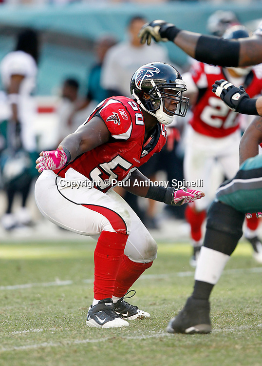 Atlanta Falcons linebacker Curtis Lofton (50) makes a move during the NFL week 6 football game against the Philadelphia Eagles on Sunday, October 17, 2010 in Philadelphia, Pennsylvania. The Eagles won the game 31-17. (©Paul Anthony Spinelli)