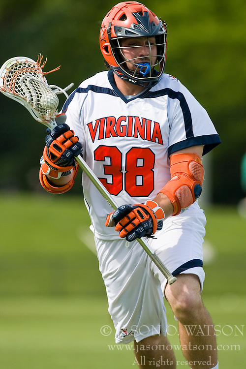 Virginia Cavaliers A Tim Fuchs (38) in action against Villanova.  The #5 ranked Virginia Cavaliers defeated the #19 ranked Villanova Wildcats 18-6 in the first round of the 2008 NCAA Men's Lacrosse Tournament the University of Virginia's Klockner Stadium in Charlottesville, VA on May 10, 2009.