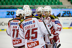 17.02.2015, Hala Tivoli, Ljubljana, SLO, EBEL, HDD Telemach Olimpija Ljubljana vs EC KAC, 4. Qualification Round, in picture Players of EC KAC celebrate during the Erste Bank Icehockey League 4. Qualification Round between HDD Telemach Olimpija Ljubljana and EC KAC at the Hala Tivoli, Ljubljana, Slovenia on 2015/02/17. Photo by Morgan Kristan / Sportida