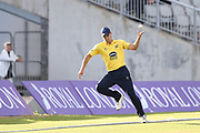 Aaron Thomason of the Birmingham Bears tries to throw the ball back into play during the Vitality T20 Blast North Group match between Lancashire Lightning and Birmingham Bears at the Emirates, Old Trafford, Manchester, United Kingdom on 10 August 2018.