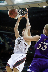 Southern Illinois Salukis forward Tony Boyle (35) finishes a dunk against Holy Cross.  The #4 seed Southern Illinois Salukis defeated the #13 seed Holy Cross Crusaders 61-51  in the first round of the Men's NCAA Tournament in Columbus, OH on March 16, 2007.