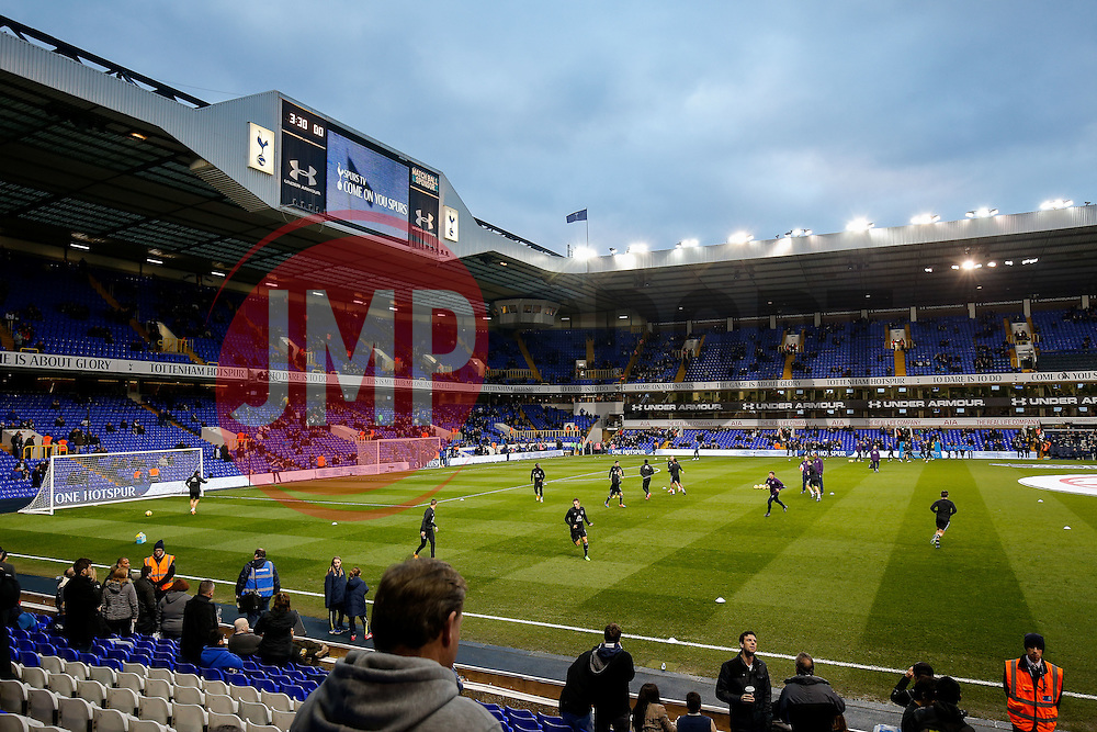 A general view as fans watch the teams warm up before the game - Photo mandatory by-line: Rogan Thomson/JMP - 07966 386802 - 30/11/2014 - SPORT - FOOTBALL - London, England - White Hart Lane - Tottenham Hotspur v Everton - Barclays Premier League.