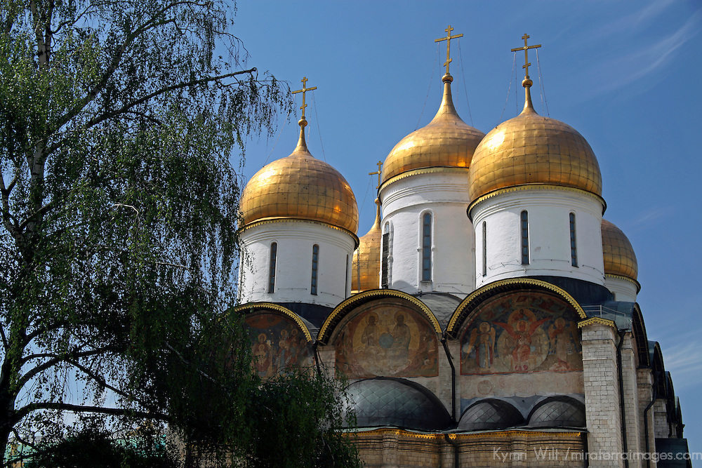Europe, Russia, Moscow. The Assumption Cathedral, coronation site,  in the Kremlin, Moscow.