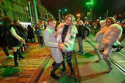 Revelers in Princes Street. Hogmanay in Edinburgh.