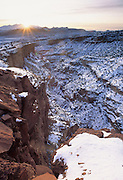 Snow, Sunrise, Winter, Sandstone, Sandstone Canyon, Canyon, Capitol Reef, Capitol Reef National Park, Utah