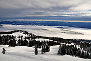 USA, Idaho, Valley County, Donnelly, Early Morning from West Mountain, Looking Northeast over Long Valley and Ski Slopes of Tamarack Resort