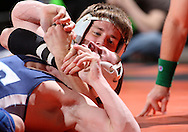 07 MARCH 2009: Elmhurst's Jake Oster (top) tries to control Elizabethtown's Tyler Erdman in the 125-pound quarterfinals at the 2009 NCAA Division III Wrestling Championships at the US Cellular Center in Cedar Rapids, Iowa on Friday March 7, 2009. Oster won 14-7.