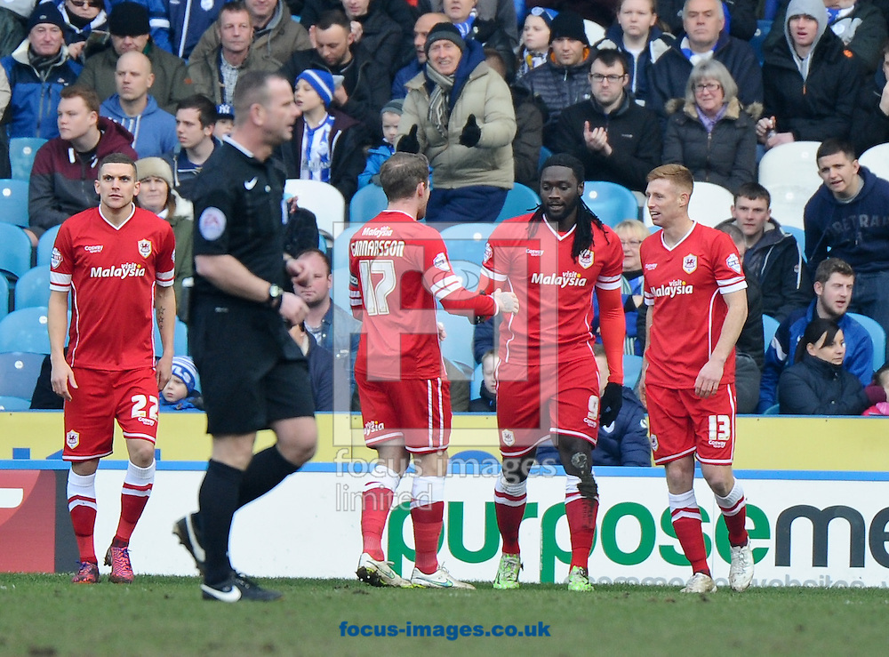 Kenwyne Jones (C) of Cardiff City celebrates scoring to make it 1-0 during the Sky Bet Championship match at Hillsborough, Sheffield<br /> Picture by Richard Land/Focus Images Ltd +44 7713 507003<br /> 07/02/2015
