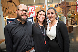 21 September 2017, Geneva, Switzerland: World Council of Churches staff gather for the annual Staff Enrichment Days. On Thursdays, WCC staff wear black, standing up in solidarity with victims of sexual and gender-based violence, for a world without rape and violence. Here, (left to right) Marc-Henri Heiniger, Francesca Merico and Ani Ghazaryan Drissi.