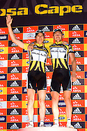 GREYTON, SOUTH AFRICA - Stefan Sahm and Karl Platt retain the leaders jersey during stage five , 5 , of the Absa Cape Epic Mountain Bike Stage Race held between Greyton and Oak Valley ( Elgin / Grabouw ) on the 26 March 2009 in the Western Cape, South Africa..Photo by Nick Muzik  /SPORTZPICS