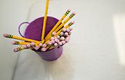 Pencils in a classroom at The Rusk School, April 7, 2014.
