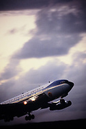 Air Force One taking off after a summit of USA, France, Germany and the UK in Gualeloupe, France on January 4 --7th,1979<br /> Photo by Dennis Brack