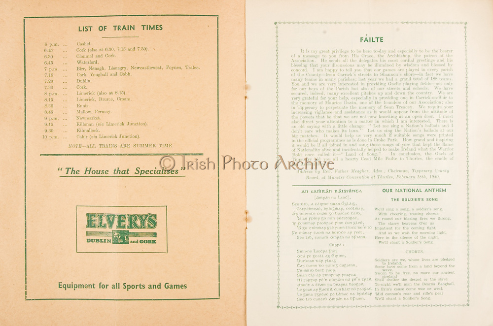Munster Senior and Minor Hurling Championship Final, .07281940MSMHF.28.07.1940, 07.28.1940, 28th July 1940, ..Senior Cork v Limerick.Minior Limerick v Clare..Elverys Dublin and Cork, Equipment for all Sports and Games,