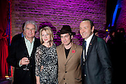 SIR RICHARD EYRE; LISA DILLON;  TOM HOLLANDER; KEVIN SPACE, Party after the opening of 'Flea in her Ear' . The Old Vic. ( John Mortimer write the translation of theplay.) Vinioplois. 14 December 2010. DO NOT ARCHIVE-© Copyright Photograph by Dafydd Jones. 248 Clapham Rd. London SW9 0PZ. Tel 0207 820 0771. www.dafjones.com.