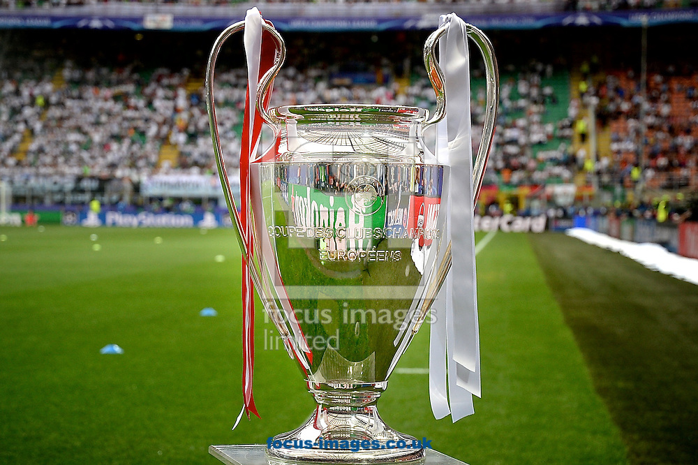 General view of the stadium showing the Champions League trophy on display pictured ahead of the UEFA Champions League Final at San Siro, Milan, Italy.<br /> Picture by Kristian Kane/Focus Images Ltd 07814482222<br /> 28/05/2016