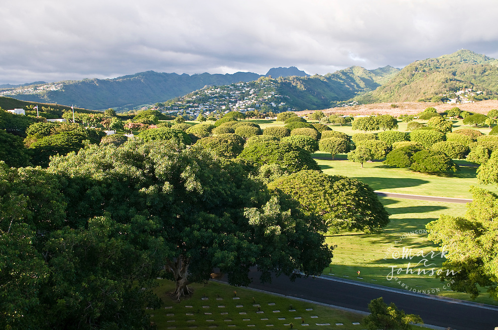 """Puowaina crater, known as """"Punchbowl"""", National Memorial Cemetary of the Pacific, Honolulu, Oahu, Hawaii"""