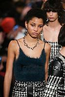 Lineisy Montero walks the runway wearing Alexander Wang Fall 2016 during New York Fashion Week on February 13, 2016