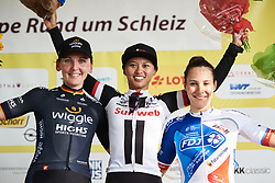 Top three: Coryn Rivera (USA), Lisa Brennauer (GER) and Roxane Fournier (FRA) at Lotto Thuringen Ladies Tour 2018 - Stage 3, a 131 km road race starting and finishing in Schleiz, Germany on May 30, 2018. Photo by Sean Robinson/Velofocus.com