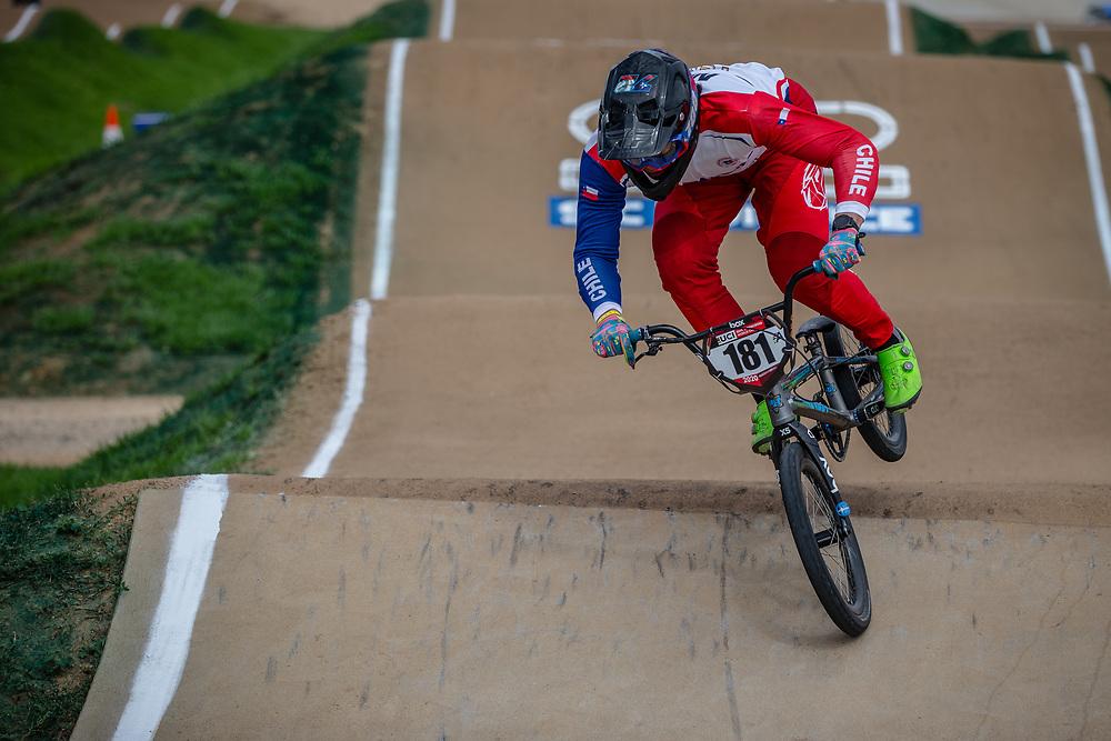#181 (MOLINA VERGARA Mauricio) CHI at Round 2 of the 2020 UCI BMX Supercross World Cup in Shepparton, Australia.