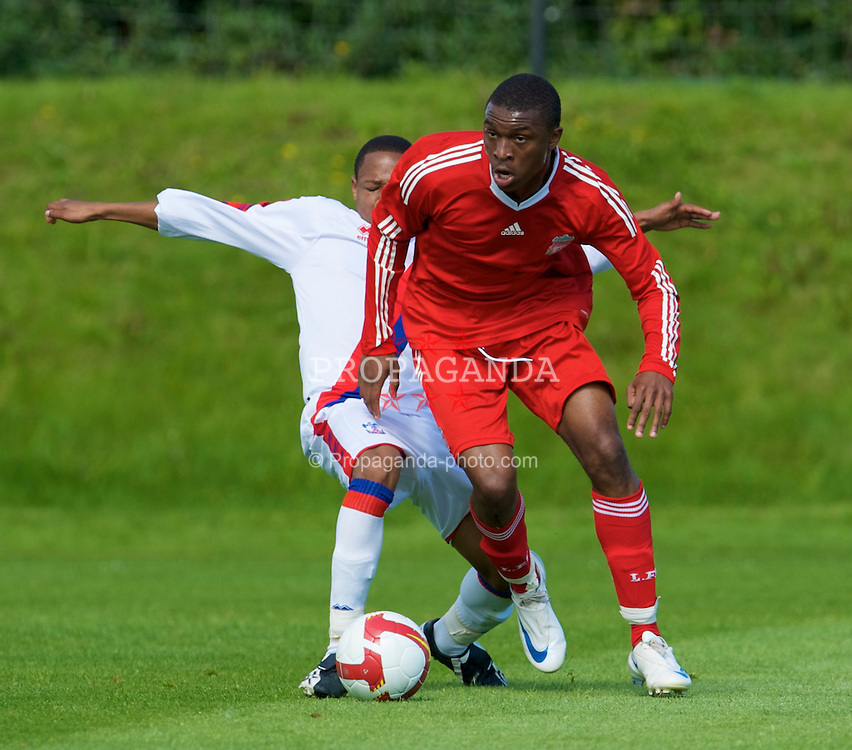 KIRKBY, ENGLAND - Saturday, August 23, 2008: Liverpool's David Amoo in action against Crystal Palace during the FA Academy Under 18 match at the Academy. (Photo by David Rawcliffe/Propaganda)