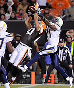 Dec 6, 2009; Cleveland, OH, USA; Cleveland Browns wide receiver Brian Robiskie (80) tires to haul down a pass in the end zone with pressure from San Diego Chargers cornerback Antonio Cromartie (31) during the fourth quarter at Cleveland Browns Stadium. The Chargers beat the Browns 30-23. Mandatory Credit: Jason Miller-US PRESSWIRE