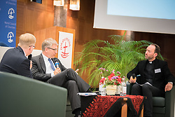 18 September 2017, Geneva, Switzerland: A talkshow format presents a range of programmes and activities of the World Council of Churches, at the Ecumenical Centre in Geneva where the WCC hosts a meeting of member churches' Ecumenical Officers. Here, interview with Olav Fykse Tveit.