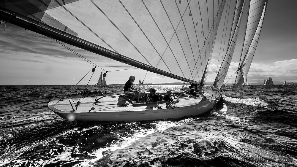October 2014, Saint-Tropez, Classic Yacht Folly sailing in the bay of Saint Tropez, yacht designed by Charles E. Nicholson, build by Camper & Nicholsons