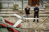 The Rev. Ross Johnson, director of LCMS Disaster Response, surveys damage to First Lutheran Church of Les Cayes with Jackie Rychel on Tuesday, Oct. 11, 2016, in Haiti.  Hurricane Matthew destroyed the roof and the inside sanctuary.  LCMS Communications/Erik M. Lunsford
