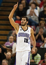 November 27, 2009; Sacramento, CA, USA;  Sacramento Kings forward Omri Casspi (18) reacts after dunking against the New Jersey Nets during the second quarter at the ARCO Arena. Sacramento defeated New Jersey 109-96.