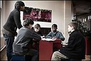 Young students at the HipHop2 (quadrate) School in Arnhem in the Netherlands. At the Hip Hop school youngsters from 10 to 25 can take workshops in rap, hip hop, breakdance and DJ Spinning...In Arnhem is sinds januari 2006 een HipHopschool gevestigd. Op deze school kunnen jongeren van tussen de 10 en 25 jaar workshops volgen in Rap, R&B zang, Breakdance, HipHop dance en DJ Spinning. Dit iniatief is tot stand gekomen door een samenwerking van Stichting Interart en de Arnhemse Rapgroep ' Andere Gekte'.  Arnhem, NETHERLANDS - 15-2-06: