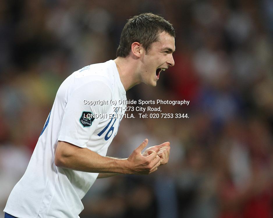 03/09/2010 International football. England v Bulgaria.<br /> Adam Johnson celebrates his goal.<br /> Photo: Mark Leech.