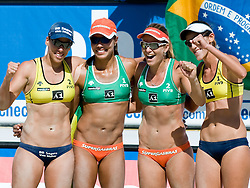 Brazilian teams Juliana-Larissa and Vivian Cunha-Taiana Lima at A1 Beach Volleyball Grand Slam tournament of Swatch FIVB World Tour 2010, final, on July 31, 2010 in Klagenfurt, Austria. (Photo by Matic Klansek Velej / Sportida)