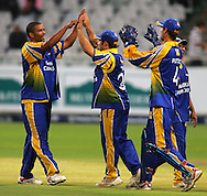 CAPE TOWN, SOUTH AFRICA - 22 February 2008, Vernon Philander celebrates the wicket of Pierre De Bruyn during the MTN Domestic Championship match between the Nashua Cape Cobras and the Nashua Dolphins held at Sahara Park, Newlands Stadium in Cape Town, South Africa...Photo by Ron Gaunt/SPORTZPICS