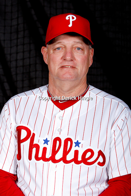 February 22, 2011; Clearwater, FL, USA; Philadelphia Phillies batting coach Greg Gross (18) poses during photo day at Bright House Networks Field. Mandatory Credit: Derick E. Hingle