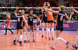 07-01-2016 TUR: European Olympic Qualification Tournament Nederland - Kroatie, Ankara<br /> Nederland verslaat Kroatië met 3-0 en gaat als groepswinnaar de halve finale in / Vreugde bij Nederland met Maret Balkestein-Grothues #6, Anne Buijs #11, Robin de Kruijf #5, Lonneke Sloetjes #10, Debby Stam-Pilon #16, Judith Pietersen #8