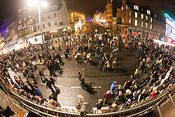 Crowd at the 9pm Countdown Fireworks lit from Edinburgh Castle.<br /> Edinburgh&rsquo;s Hogmanay 2013.