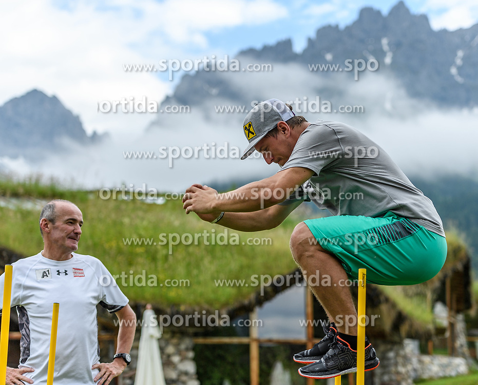 06.06.2017, Bio Hotel Stanglwirt, Going, AUT, OeSV Training, Herren Speed Team, Stanglwirt, Pressetermin, Training, im Bild v.l. Andreas Puelacher (Cheftrainer Herren), Max Franz // f.l. Andreas Puelacher head coach men and Max Franz of Austria during a Trainingsession of men's speed Ski Team of Austrian Ski Federation (OeSV) at the Bio Hotel Stanglwirt in Going, Austria on 2017/06/06. EXPA Pictures © 2017, PhotoCredit: EXPA/ Stefan Adelsberger