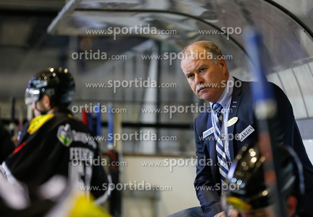 19.09.2014, Messestadion, Dornbirn, AUT, EBEL, Dornbirner EC vs UPC Vienna Capitals, 3.Runde, im Bild Dave MacQueen, (Dornbirner EC, Head Coach)// during the Erste Bank Icehockey League 3rd round match between Dornbirner EC and UPC Vienna Capitals at the Messestadion in Dornbirn, Austria on 2014/09/19, EXPA Pictures © 2014, PhotoCredit: EXPA/ Peter Rinderer