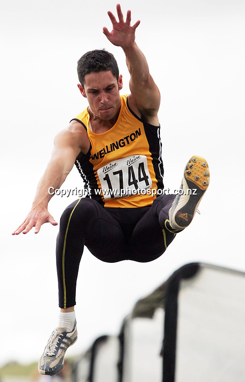 David Lane (Wellington) competes in the Men's Long Jump final at the 2007 Union Athletics New Zealand Track &amp; Field Championships at TET Stadium, Inglewood, New Zealand on Friday 2 March 2007. Photo: Hannah Johnston/PHOTOSPORT<br /> <br /> <br /> <br /> 020307