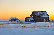Prairie Homestead at Sunset, Alberta Canada