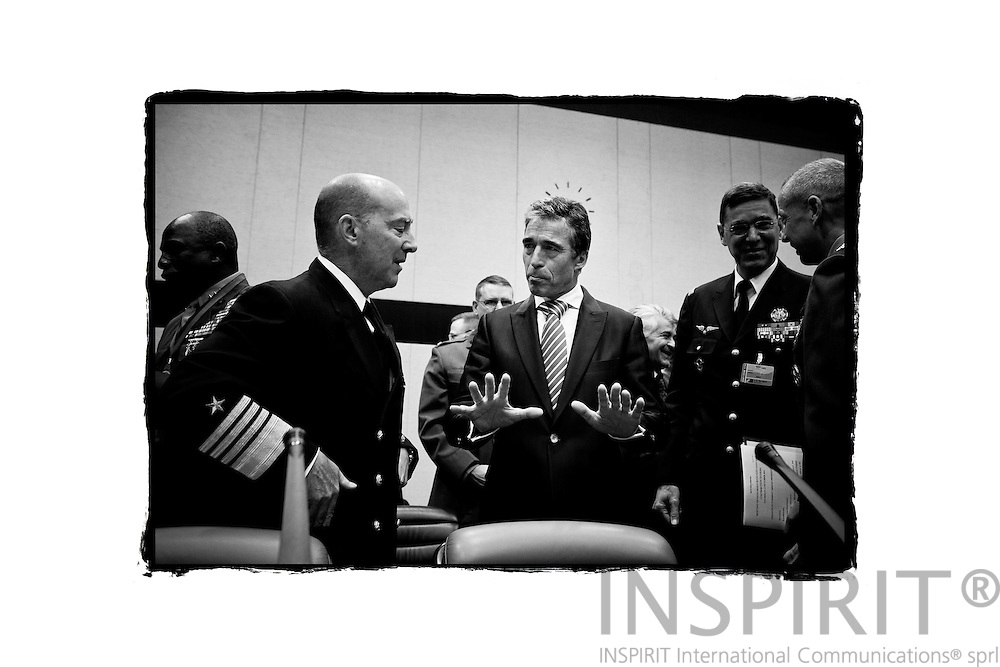From left  Admiral James Stavridis, Commander of SACEUR, speaking with the NATO Secretary General Anders Fogh Rasmussen and General John R. Allen, Commander of ISAF,  at the beginning of the NATO defence ministers meeting at the alliance headquarters in Brussels October 6, 2011. PHOTO: ERIK LUNTANG / INSPIRIT Photo.