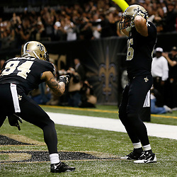 """Dec 29, 2013; New Orleans, LA, USA; New Orleans Saints wide receiver Lance Moore (16) celebrates following a touchdown against the Tampa Bay Buccaneers with teammate Kenny Stills (84) paying homage in his celebration to the comedy skit show """"Key & Peele"""" by performing the """"Hingle McCringleberry Dance during the first quarter of a game at the Mercedes-Benz Superdome. Mandatory Credit: Derick E. Hingle-USA TODAY Sports"""
