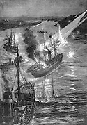 Russo-Japanese War 1904-1905: Russian batteries repelling the second Japanese attempt under Admiral Togo to block Port Arthur by sinking merchant ships, March 1904.