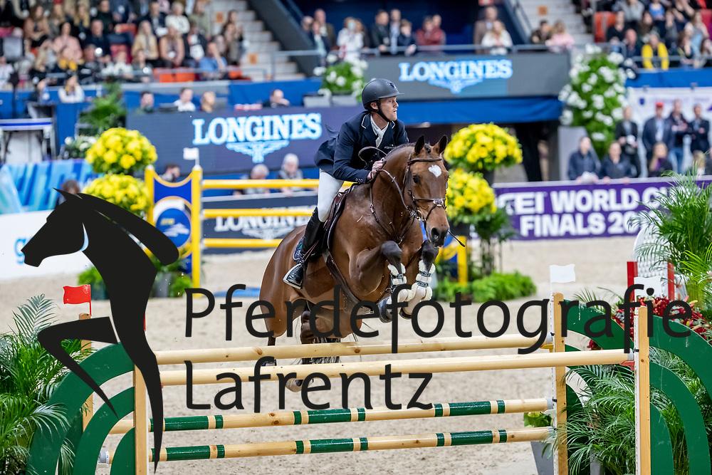 BRUYNSEELS Niels (BEL), Delux van T & L<br /> Göteborg - Gothenburg Horse Show 2019 <br /> Longines FEI World Cup™ Final II<br /> Int. jumping competition with jump-off (1.50 - 1.60 m)<br /> Longines FEI Jumping World Cup™ Final and FEI Dressage World Cup™ Final<br /> 05. April 2019<br /> © www.sportfotos-lafrentz.de/Stefan Lafrentz