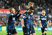 Goal - Pablo Hernandez (19) of Leeds United celebrates scoring a goal to make the score 2-2 during the EFL Sky Bet Championship match between Swansea City and Leeds United at the Liberty Stadium, Swansea, Wales on 21 August 2018.