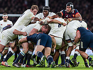 Joe Launchbury, Maro Itoje and Dylan Hartley in a maul, England v France in a RBS 6 Nations match at Twickenham Stadium, London, England, on 4th February 2017.
